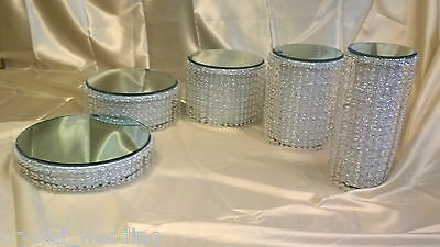 Crystal diamante Chandelier pillar wedding cake stands full 5 or 6 tier set