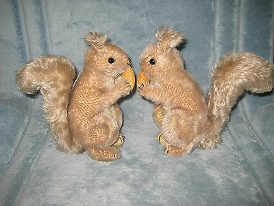 """Two (2) 1950's German STEIFF 8"""" Mohair Squirrels with Acorns"""