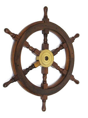 "Teak Ship's Steering Wheel 24"" Solid Brass Hub Nautical Pirate Wall Decor New"