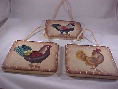 3 Chalkware Plaster Chicken Rooster Wall Plaques with a Chicken Wire Design