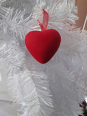 """Pkg of 12- Small Red Flocked Heart Valentines Day Ornaments, 2"""" NEW"""