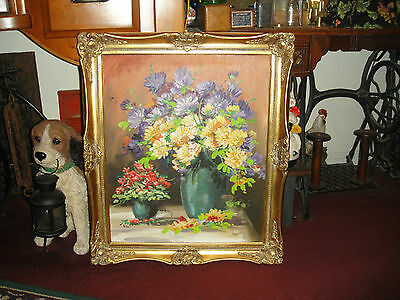 Lou Kennel Oil Painting On Canvas-Gilded Wood Frame-Bouquet Of Flowers In Vase