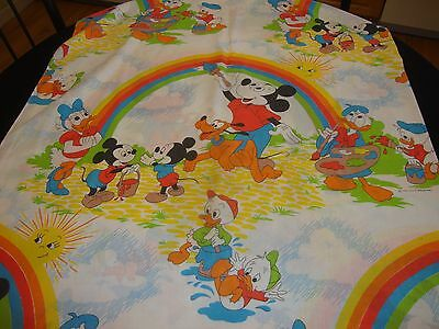 * VTG Disney Pacific Flat Twin Sheet Mickey Mouse Pluto Painting Rainbow Fabric