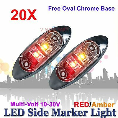 20X 12V 24V SUPERFLUX LED MARKER CLEARANCE TRUCK LIGHT Red Amber LAMP Oval BASE
