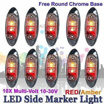 10X 12V 24V SUPERFLUX LED MARKER CLEARANCE TRUCK LIGHT Red Amber LAMP Oval BASE