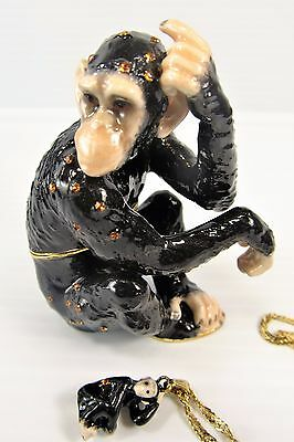 Chimpanzee Jeweled Pewter Trinket Box w/necklace Wildlfie decor