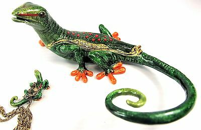 Gecko Jeweled Pewter Trinket Box w/necklace Wildlfie