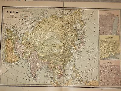 1886 Cram LARGE   MAP ASIA Delhi Canton Jerusalm / Cities Old World / RUSSIA