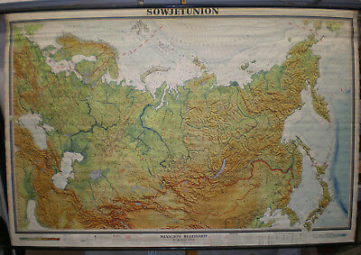 Wandkarte Sowjetunion Russland Sibirien Taiga 244x163cm vintage Russia map ~1960