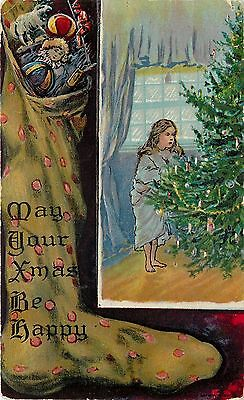Christmas~Victorian Girl in Bathrobe~Decorated Tree~Huge Toy Filled Stocking~Emb