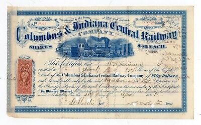 1868 Columbus & Indiana Central Railway Stock Certificate