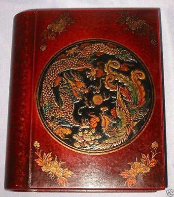Chinese leather Wood carved Dragon Phoenix Book Box