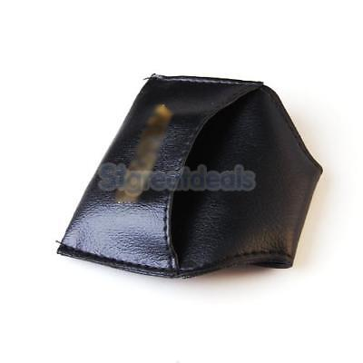 Soft Leather Chalk Holder Pouch with Clip for Pool Billiards Cue Table Black