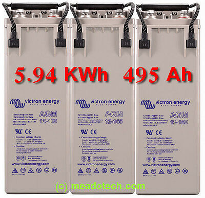 Motorhome 5.94 KWh 495 AH 12V AGM DEEP CYCLE BATTERY  KIT FREE UK Delivery