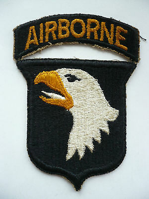 Original WW2 101st Airborne Division White Tongue Type 5 Patch & Matching Tab.