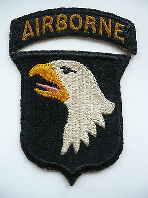 Original WW2 101st Airborne Division Dyed Pink Tongue Type 5 Patch & Tab.