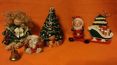 5 Piece Christmas Ornament Lot Musical Tree, wooden santa & Doll, mouse w/ bell