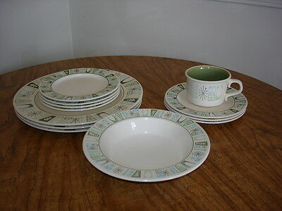 12 pc TS&T Taylorstone Cathay china dinnerware plate bowl cup saucer mid century