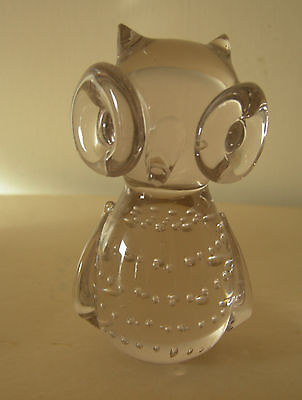 Hand blown Glass Owl  Stands 100mm high - Excellent Condition