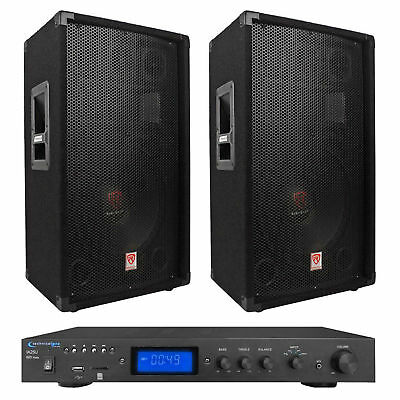 "2) Rockville RSG12.4 12"" 1000w PA Speakers+Technical Pro 600w Amplifier w USB/SD"