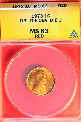 1973 Lincoln Cent - DDO DIE 1  ANACS  MS63  RED