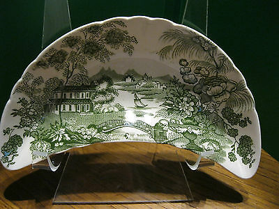 ROYAL STAFFORDSHIRE BY CLARICE CLIFF GREEN CRECENT, SCALLOPED BONE DISH ENGLAND