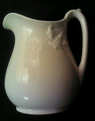 Antique Classic White Ironstone Pitcher Morning Glory Lily Floral Shabby Vintage