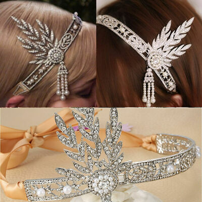New Great Gatsby Headband Hat 1920's Hair Cap Silver Ivory Daisy Vintage Flapper