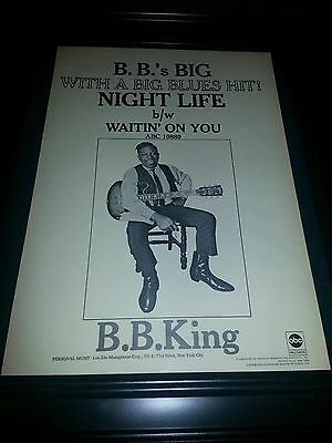 B.B. King Night Life Rare Original Promo Poster Ad Framed!