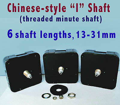 "QUARTZ CLOCK MOVEMENT MECHANISM REPLACEMENT, ""I"" shaft Chinese Style, 13 - 31mm"