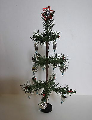 """OLD 8½"""" tall  PAPER/FABRIC CHRISTMAS FEATHERTREE WITH GLASS ORNAMENTS"""