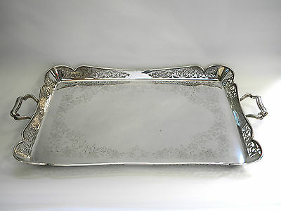 ANTIQUE VICTORIAN SILVER PLATED TEA / SERVING TRAY c. 1890