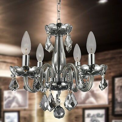 "CLEARANCE SALE $99 Clarion 4 Light Smoke Crystal Chandelier 16""x12"" Mini Small"