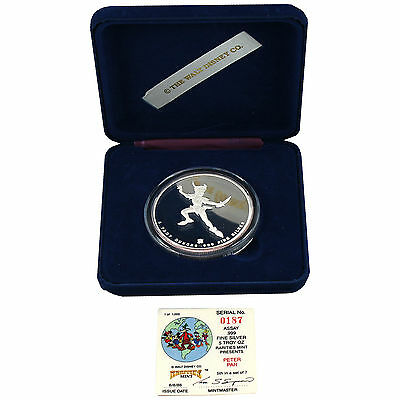 5 TROY OUNCE SILVER RARITIES MINT PETER PAN COIN SERIAL #187 1/1000 4749-07