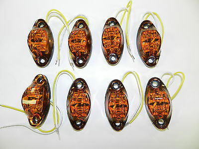 (8) Amber LED Camper Trailer Light 2 Diode surface mount Clearance Free ship