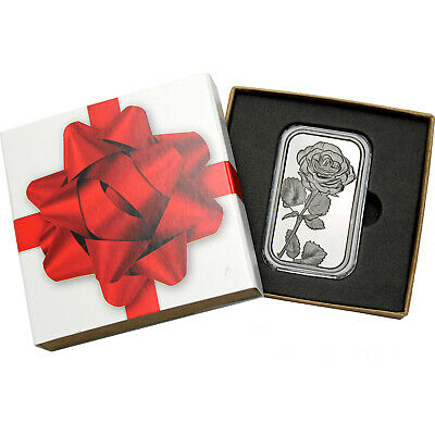 Rose 1oz .999 Fine Silver Bar by SilverTowne (Red Ribbon Box)