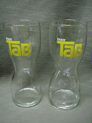 Pair of Vintage 1960's Hour Glass Tab Glasses by Coca Cola
