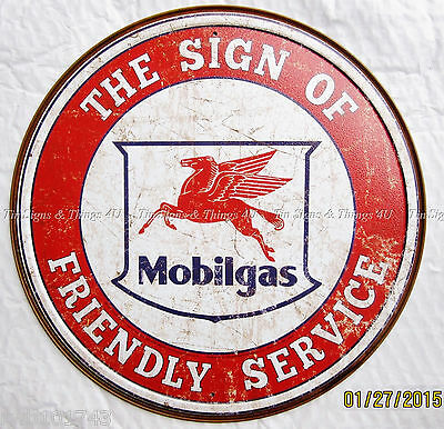 Pegasus Mobilgas ROUND TIN SIGN Friendly Service mobil vintage garage decor 2025