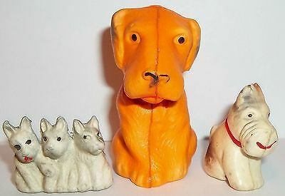 OCCUPIED JAPAN SCOTTIE DOG CELLULOID DOGS PUFFY CHARM SOUVENIR LOT (3) DIFF