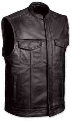 Concealed Carry Leather Outlaw MC Club & Biker Harley Motorcycle Vest