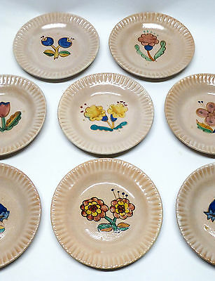 """Set of (12) Early I.C.S. Italian Pottery Floral 8.5"""" Plates - Gambone Doelker"""