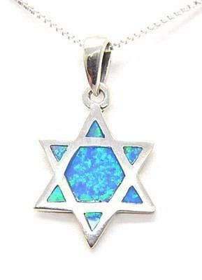 "Jewish Star of David pendant Messianic necklace 925 silver with Opal 18"" Israel"