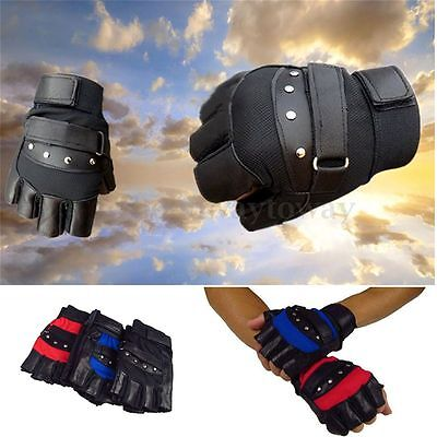 Men's Soft Sheep Leather Driving Motorcycle Bike Cycle Outdoor Fingerless Gloves
