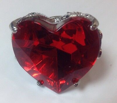 Red Heart Ring Valentine Fashion Jewelry Chunky Adjustable