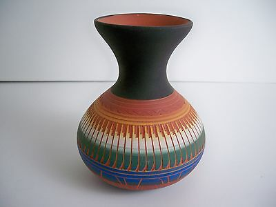 Navajo American Indian Pottery Etched Vase - Carol Torres