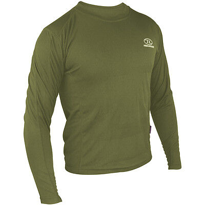 Highlander Climatex 160 Mens Long Sleeve Hiking Top Base Layer Army Shirt Olive
