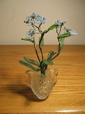 Vintage French Glass Hand Beaded Seed Bead Flowers Floral Bouquet Blue Flowers
