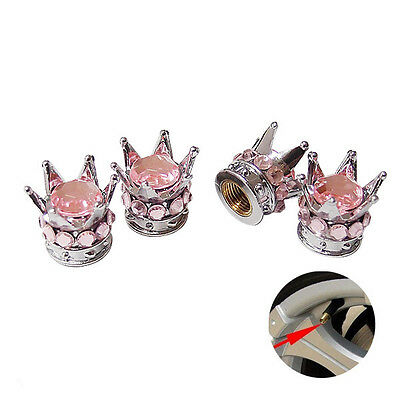 Silver Crown Pink Stones  Car Wheel Air Tyre Valve Dust Caps Covers  Set of 4