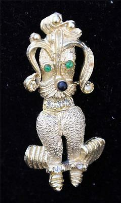 Vintage 60s Goldtone Green Clear Rhinestones DOG Pin Brooch