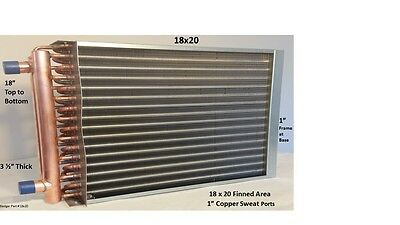 "18x20  Water to Air Heat Exchanger 1"" Copper Ports w/ EZ Install Front Flange"